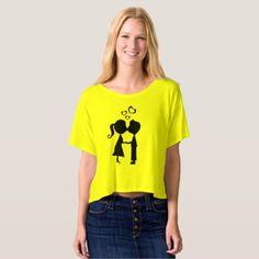 Cute Couple Silhouette Crop Top - diy cyo customize gift idea personalize