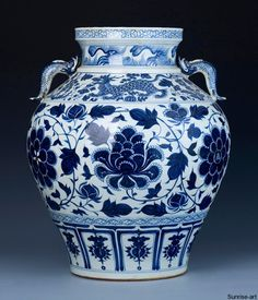 Great blue and white Antique Jar
