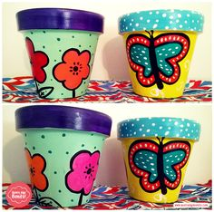 Painted Flower Pots, Painted Pots, Flower Pot Design, Clay Pot Crafts, Clay Pots, Crafty Projects, Decoration, Tableware, Painting