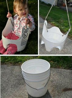 A nice idea for a DIY garden swing for toddlers