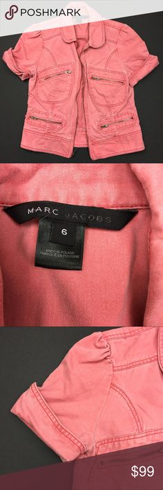 Marc Jacobs Faded Zipper Denim Short Sleeve Jacket Used in Excellent Condition/ No Trades/ No PayPal/ Smoke & Pet Free Home/ Please Ask Questions!/ Like what you see but the price too high? Make an offer!/ offers on bundles are welcome! Marc Jacobs Jackets & Coats