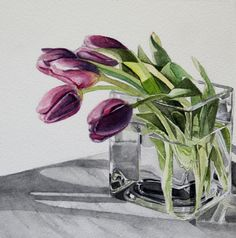 Lavender Tulips by Carrie Waller Watercolor ~ 6 x 6