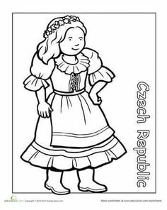 This series of coloring pages featuring children around the world is great for kids to learn about their heritage. Color in this girl from the Czech Republic, wearing traditional Czech clothing. Find the rest of the Multicultural Coloring series here. Detailed Coloring Pages, Colouring Pages, Adult Coloring Pages, Coloring Books, People Around The World, Around The Worlds, Around The World Theme, World Thinking Day, Les Continents