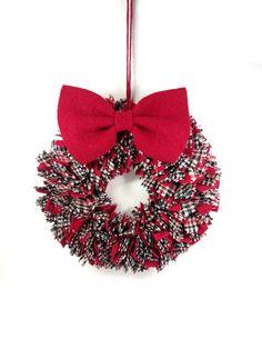 Red white black rag wreath Plaid proddy wreath by HereAtSmallGoods