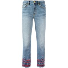 Tory Burch Embroidered Bottom Jeans ($225) ❤ liked on Polyvore featuring jeans, denim blue, blue jeans, tory burch, cropped jeans, embroidery jeans and tory burch jeans