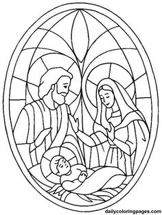 Nativity Coloring Page - use for stain glass?: