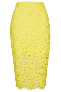Lace yellow pencil skirt. Spring Summer Fashion