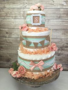 Shabby Chic Diaper Cake in Burlap, Mint and Peach, Shabby Chic Baby Shower Decoration by AllDiaperCakes on Etsy https://www.etsy.com/listing/479478377/shabby-chic-diaper-cake-in-burlap-mint