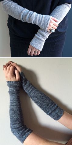 Knitting Pattern for Easy Bria Armwarmers - All knit stitches except for ribbed edge and decreases. Fingerless cuffs knit in the round. Rated very easy by Ravelrers. Designed by Beth Michon. Pictured projects by designer and sutradhara. Easy Knitting Projects, Knitting Blogs, Loom Knitting, Knitting Stitches, Knitting Patterns Free, Baby Knitting, Crochet Patterns, Free Pattern, Easy Patterns