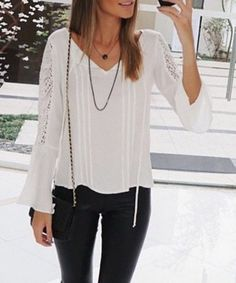 Trendy V-Neck Long Sleeve Solid Color Hollow Out Blouse For Women