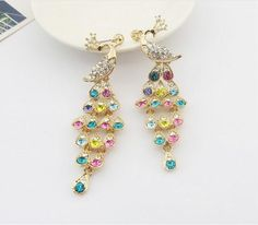 2016 Lux Jewelry Earrings Dangling Bohemian Peacock Alloy Rhinestone Earrings…