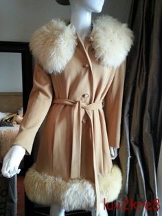 70s Huge Cream Shearling Collar Fur Hem Knit Wrap Dress Coat Vtg Belt Jacket S M #unbranded #BasicCoat #Anytime