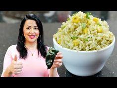 Quick & Easy Poblano Mexican Rice Poblano Rice Recipe, Green Rice Recipe, Poblano Recipes, White Rice Recipes, Mexican Dessert Recipes, Mexican Meals, Dinner Recipes, Mexican White Rice, Rice With Corn