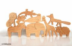ANY 4 animals Organic wooden toy Animals from all over the