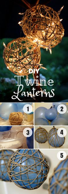 Easy to make DIY Twine Lanterns for fall home decor @istandarddesign