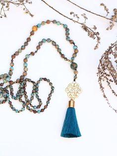 Boho Turquoise Necklace Jasper Birthstone Long Gemstone image 2
