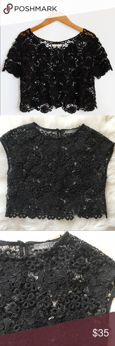 Gracia Black Lace Crop Top sz Small Beautiful lace crop top by Gracia. Worn twice, and remains in excellent condition. Size Small. Gracia Tops Crop Tops