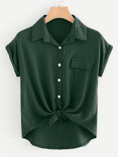 Rolled Cuff Knotted Hem Shirt