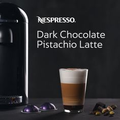 Feeling the winter blues? Spring into flavor with our Dark Chocolate Pistachio Latte. Click the pin & try a new Nespresso recipe today. Nespresso Dark Chocolate Pistachio Latte INSTRUCTIONS Add ½ oz pistachio syrup and 1 tbsp dark chocolate sauce to glass Froth 6 oz milk until hot & foamy Pour foamed milk into glass and stir to combine Brew two shots of espresso (Altissio or Ristretto) into glass Top with a sprinkle of cocoa powder Stir & enjoy!