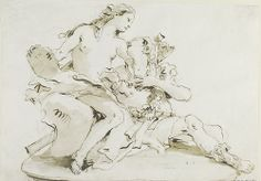 Giovanni Battista Tiepolo (Italian; 1696–1770)Rinaldo and Armida (Design for Statuary)Drawing, ca. 1743Victoria and Albert Museum, London