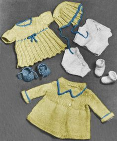 Knitting Patterns For Baby Dolls Clothes Old Style : 1000+ images about Single - Dolls, Clothes Knitting Vintage Patterns for down...