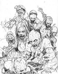 """Something coming back from the dead was almost always bad news. Movies taught me that. For every one Jesus you get a million zombies."" ― David Wong, John Dies at the End Zombie Kunst, Arte Zombie, Zombie Art, Apocalypse Des Zombies, Apocalypse Art, Arte Horror, Horror Art, Drawing Sketches, Art Drawings"