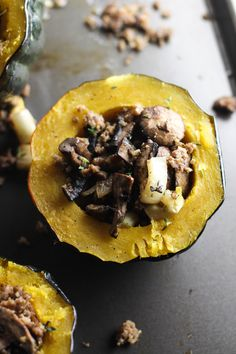This Roasted Acorn Squash with Sausage, Fennel, and Mushrooms is an easy dish with warm fall flavors!