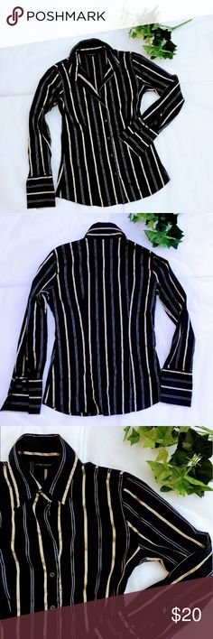 New York & Company Slim Fit Black Button Down New York & Company Slim Fit Black Button Down Shirt. Excellent condition as new. Size small, slim fit. Black and Gold stripes. French cuff sleeves. New York & Company Tops Button Down Shirts