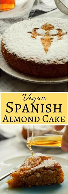 This Spanish almond cake is a #vegan version of the traditional Tarta de Santiago from Galicia. This cake is easy to make with minimal ingredients and #aquafaba. Decorated with the Cross of Saint James and served with Spanish moscatel (or other sweet liqueur), this vegan #Spanish almond cake makes a great #dessert to a holiday or a regular weeknight dinner! via @cilantroandcitr
