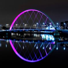 squinty bridge, finnieston, river clyde glasgow, night photo, long exposure, reflections, city lights, night reflections, modern bridge design by abbozzo, via Flickr