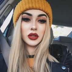 """maddie carina on Instagram: """"ive been wearing this yellow beanie everyday n i dont care also @colourpopcosmetics lippie stix in 'ziggie'⭐️ i can't get over the formula of these- they're like velvet """""""