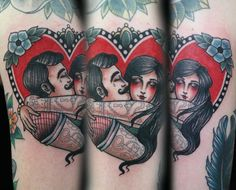 Cute tattooed couple by Gemma of Cherrys Tattoo!
