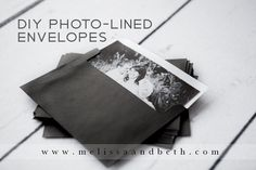 DIY Photo-Lined Envelopes {by Kansas City Wedding Photographers} A great way to show off your engagement photos and add a personal detail to your shower, rehearsal, or wedding invitations!