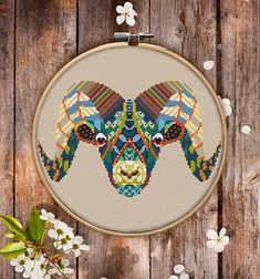 This is modern cross-stitch pattern of Mandala Ram for instant download.  You will get 7-pages PDF file, which includes: - main picture for your reference; - colorful scheme for cross-stitch; - list of DMC thread colors (instruction and key section); - list of calculated thread