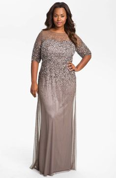 2dd7969d27 ADRIANNA PAPELL Beaded Illusion Gown – Size 20W (Plus Size)