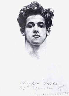 Head of Olimpio Fusco   c. 1905-1915 by john singer sargent