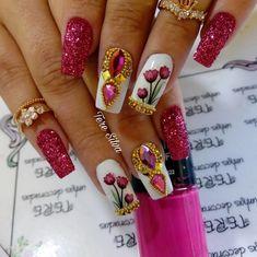 63 New Ideas for nails design frances colour Swarovski Nails, Rhinestone Nails, Sparkle Nails, Bling Nails, Aycrlic Nails, Nails Only, Diy Nail Designs, Nail Accessories, Cute Acrylic Nails