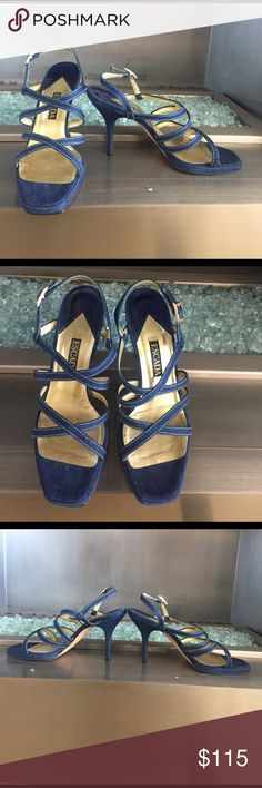 """Escada Jean heel sandals Authentic Escada Jean sandals. In very great condition, barely worn. Some stitching frayed near buckle on right shoe. Heel height is 4"""". Escada Shoes Heels"""