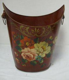 Tole Tin Waste Basket, 14 In H