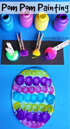 Pom Pom Easter Egg Painting Craft for Kids | http://www.sassydealz.com/2014/03/pom-pom-easter-egg-painting-craft-kids.html