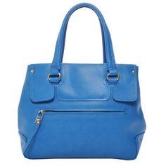 Mechaly Women's Emily Blue Vegan Leather Satchel Handbag