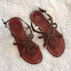 """R2 """"Levi"""" Braided Sandal (Brown) Worn but in good condition, R2 """"Levi"""" braided sandal in brown. Has buckle that wraps around ankle. Some normal signs of wear, but they still look great! Make an offer! R2 Shoes Sandals"""