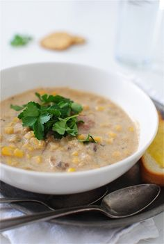 """Call it a chowder or a soup, your choice, but don't deny that recipe sounds delicious! // """"Simple Corn Chowder"""" 
