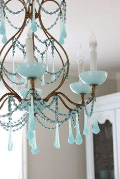 Murano blue opaline chandelier. So lovely!!