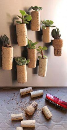Pequeño jardín en tapones de corcho