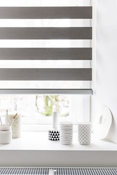 Zebra Shades have alternating bands of sheer and opaque material that can be adjusted to let light in or overlaid for privacy and light control. Blinds For Windows, Curtains With Blinds, Persiana Double Vision, Zebra Shades, Interior Shutters, Custom Kitchens, Window Design, Window Coverings, Living Room Decor