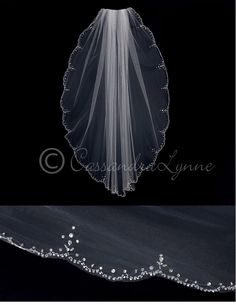 Scalloped Fingertip Veil with Seed Beads and Rhinestones from Cassandra Lynne