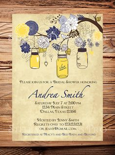 Pink, Navy Mason Jars Invitation, Vintage Bridal Shower Invitation, Wedding Shower,  Mason Jars, Branches, Navy, Pink, Yellow, Brown.