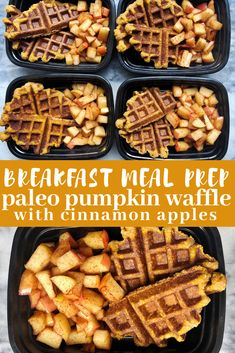 Pumpkin Waffles and Cinnamon Apples Breakfast meal prep for fall with paleo pumpkin waffles and cinnamon apples. Prep four servings on Sunday and have a delicious breakfast prepped all week.Paleo-Balkans Paleo-Balkans refers to: Apple Breakfast, Breakfast Recipes, Breakfast Time, Meal Prep Breakfast, Clean Breakfast, Whole 30 Breakfast, Health Breakfast, Breakfast Muffins, Paleo Meal Prep