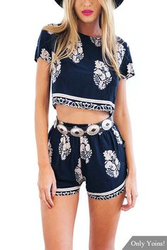 Navy Foliage Print Shorts Co-ord Set from mobile - US$13.95 -YOINS